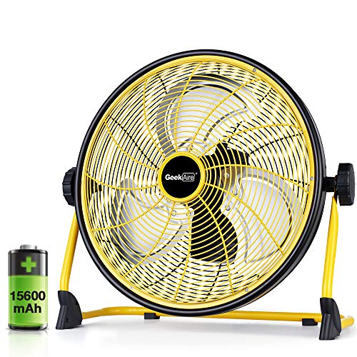 GeekAire Rechargeable Outdoor High Velocity Floor Fan,16'' Portable 15600mAh Battery Operated Fan...