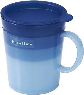 レック puretime 抗菌 フタ付き コップ フロート ( ブルー ) 250ml 食洗機 ・ レンジ対応
