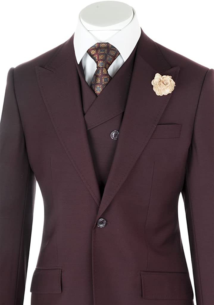 Tiglio Rosso San Giovesse Burgundy Wide Leg, Pure Wool Suit & Vest