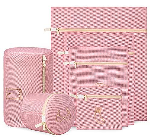 AOSYCO Juego de 6 bolsas de malla para lavandería, para ropa delicada, color rosa, lavable a máquina, con cremallera, bolsa de lavandería de viaje para ropa, sujetador, ropa...