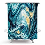QCWN Marble Shower Curtain,Beautiful Abstract Acrylic Painting Marble Colorful Backdrop Wallpaper Mixed Gold