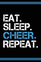 Cheerleader Book Girls Cheerleading Journal: Blank Lined Notebook + Goals and Wish List | Black Cover with Blue Bow & Eat Sleep Cheer Repeat
