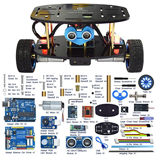 Adeept 2-Wheel Self-Balancing Car Robot Kit Compatible with Arduino IDE MPU6050 Accelerometer Gyroscope Sensor, TB6612 Motor Driver Obstacle Avoidance Android APP Remote Control Robot Starter Kit