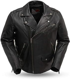 First MFG Co. - Enforcer - Men's Motorcycle Leather Jacket (Black, 3X-Large)