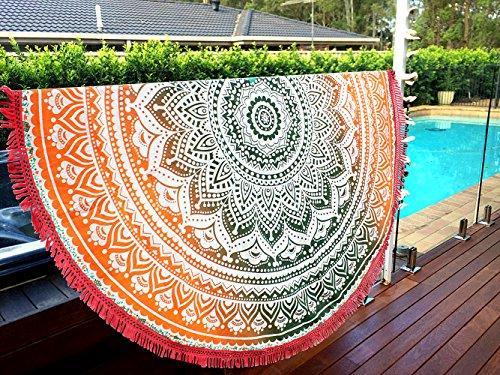 Aakriti Toalla de playa redonda con degradado estilo mandala indio, tapiz hippy, boho, mantel de algodón, mantel para picnic, esterilla de yoga, chal redondo, 182 cm, algodón, Naranja y verde., 180 cm