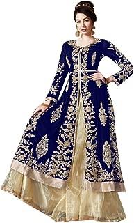 Blue Muslim Wedding Long Georgette Anarkali Suit Net Embroidered Dupatta Salwar Kameez Eid Suit Dress Bespoke Tailoring 8420 …