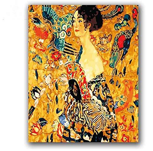 Colorear por números Mujer con ventilador Gustav Klimt Imagen Resumen Figura Pinturas Pintar por números con kits para decoración Hoom 40X50 CM,Con marco de madera,I