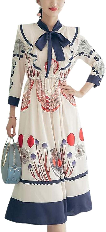 Bow Tie Neck High Waist Swing Nine Point Sleeve Floral Print Flared Women Dress