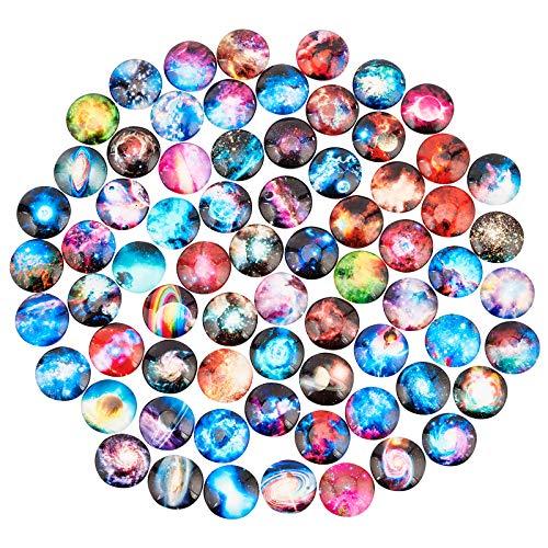 PandaHall Cabujones de cristal de nebulosa autoadhesivos, de 25 mm, cabujones de cúpula de cristal estrellado de 25 mm, cabujones medio redondos para bandejas colgantes de 25 mm