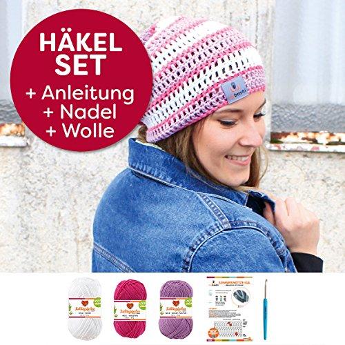 myboshi Häkel-Set Mütze IGA | aus No.2 | mit passender Häkelnadel | Sommermütze | Magenta Weiss Candy