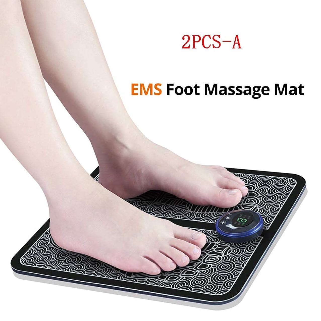 精巧な騒混沌EMSスマートフットマッサージパッド、フットマッサージャー、足指圧療法、血液循環を促進し、男性と女性の疲労を軽減、2PCS,A