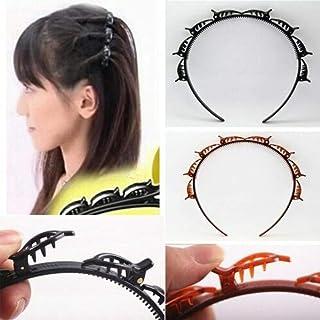 Braided hair styling headband Double plate headband bangs braided hair headband Hairdressing styling tool Korean version of the new hair braiding 【Black】