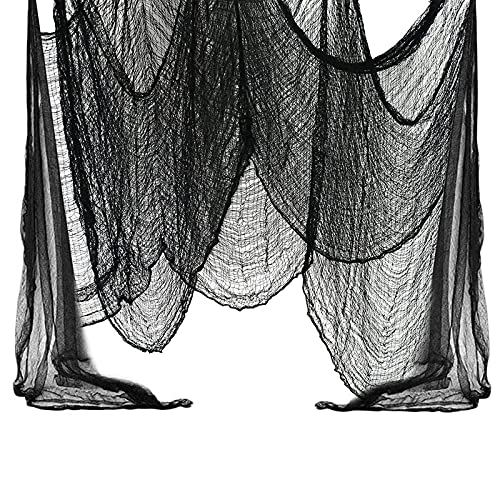 JOKILY Halloween Gruseliger Stoff, Halloween Deko, 215 x 500 cm Schwarzes Baumwollgarn Halloween Party Gruselige Dekoration, Haustür Fensterbehang Terror Dekorationen, Hallowmas Party Supplies