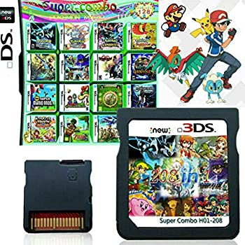 208 in 1 Game Cartridge DS Game Pack Card Compilations Super Combo Multicart for Nintendo DS NDSL NDSi NDSi LL/XL 3DS 3DSLL/XL New 3DS New 3DS LL/XL 2DS New 2DS LL/XL