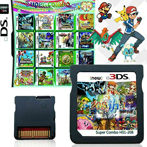 208 in 1 Game Cartridge, DS Game Pack Card Compilations, Super Combo Multicart for Nintendo DS, NDSL, NDSi, NDSi LL/XL, 3DS, 3DSLL/XL, New 3DS, New 3DS LL/XL, 2DS, New 2DS LL/XL