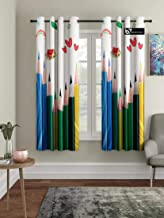 B7 CREATIONS Polyester Digital Printed Pencil Whiteout Eyelet Window Curtain, 4x5ft, Multicolour