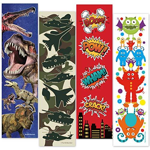 48 Bookmarks for Boys (Dinosaur, Military Camo, Monsters, Superhero) Bulk Variety Teacher Supply Pack - Birthday Party Favors - Student Prizes - Teacher Rewards - Reading Incentives - School Store