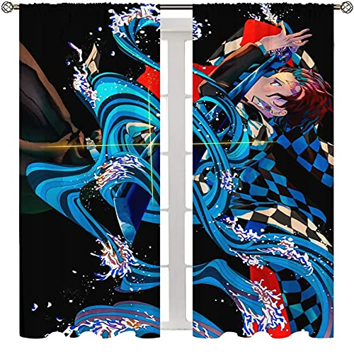 Cortinas exclusivas para el hogar, anime demonio asesino Kamado Tanjirou cortina para dormitorio universitario de 63 x L63 pulgadas