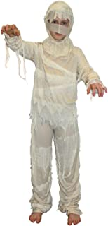 Boys Mummy Costume for Kids Ancient Egypt Childs Egyptian Bandaged Fancy Dress Large - (9 - 11 Years) White MCKNMUL