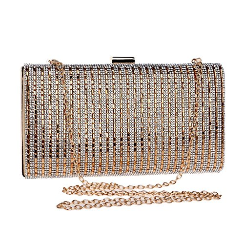 Mubolin Bolso de noche de lujo con diamantes de imitación para mujer (color dorado)