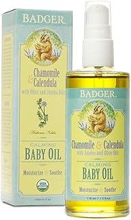 Badger - Baby Oil, Chamomile & Calendula, Organic Baby Oil, Softens & Moisturizes Baby's Skin, Baby Oil for Dry Skin, Baby...