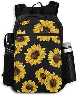 Computer Backpack Chic Sunflower Floral Flower Black Background Big Shoulder Backpacks Bag Bookbag Daypack