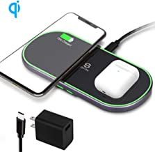 Dual Wireless Charger 5 Coils Qi-Certified Wireless Charging Stand for iPhone 11/11 Pro/11 Pro Max/XS Max/X, Samsung Galaxy Note 10/Note 10+/S10, AirPods 2/Pro and More(QC Adapter Included)
