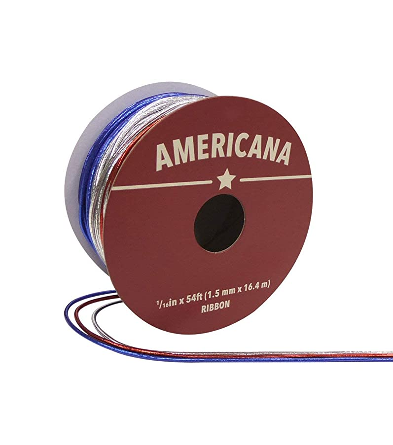 Americana Cord Ribbon 1/16 x 54' Red Blue & Silver