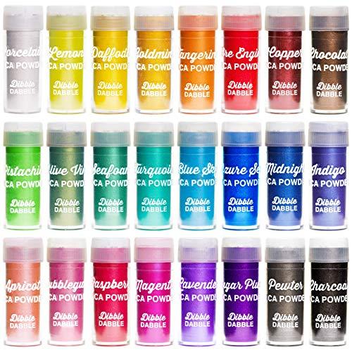 Dibble Dabble Mica Powder 24 Color Shake Jars – 240g Set - Cosmetic Grade Mica Pigment Powder for Soap Making, Epoxy Resin, Lip Gloss, Nails, Bath Bombs, Slime (10g per jar)