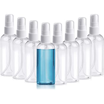 Henscoqi 8 Packs Spray Bottles, 3.38oz/100ml Empty Bottle, Mini Travel Size Spray Bottle Accessories Refillable Container Mist Bottles Clear Travel Bottles for Essential Oil, Perfume, M/U Remover