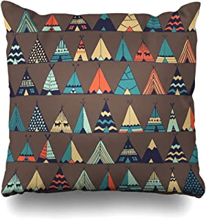 DIYCow Throw Pillow Covers Vintage Aloha Teepee Native American Summer Tent Pattern Cottage Parks Indian Boho Camping Caravan Home Decor Pillowcase Square Size 16 x 16 Inches Zippered Cushion Case