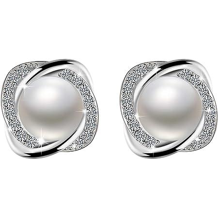 Amilril Pendientes Mujer, Pendientes Perlas Plata de Ley 925 Clásico Joyería para, Regalos Navidad