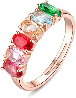 HYLJZ Anello Colorful Rainbow Square Baguette Resizable Gold Filled Cubic Zirconia Eternity Cz Ring for Women Female Gift