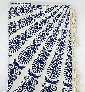 Goodforgoods Decoración de Mandala y Elefantes para la Playa, Piscina, tapicería Cubre Sofa, Mesa sillón, decoración Pared. 100% algodón 210x240 cm. (Azul y Blanco, 210x240 cm)