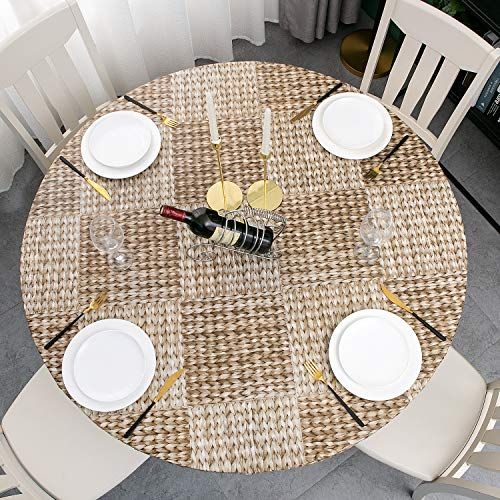 Round Vinyl Elastic Edged Flannel Backed Tablecloth Fitted Table Cover PVC Print Table Pad Home Decor (Pattern C, Round Tight Fits Table up 40'-44' Diameter)