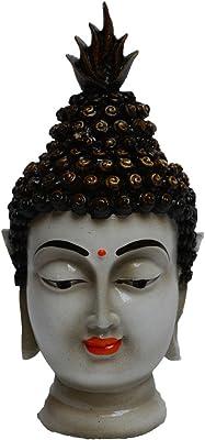eCraftIndia Meditating Buddha Head Idol (7.5 cm x 6.25 cm x 12.5 cm, White)