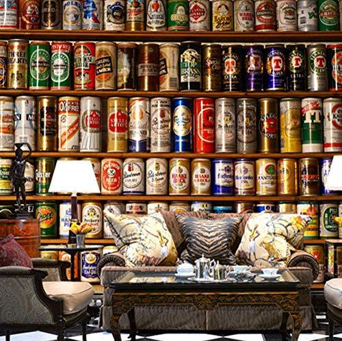 muurschildering op maat 3D niet-geweven stof milieuvriendelijk en duurzaam behang muur sticker-bier liefhebbers collectie rack 350(w)x256(H)cm