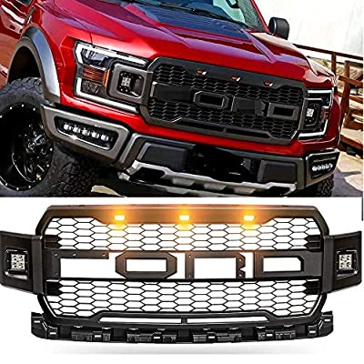 Front Grill ABS Honeycomb Mesh For F150 2018 2019 2020 Raptor Grille Fits Fd F-150 Grille With LED Amber Light And 2 Side LED Light (Black)