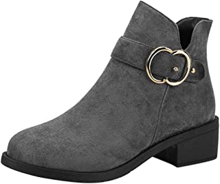 〓COOlCC〓Mid-Calf Boots for Womens,Side Zipper Ankle Boots with Block Heel Pointed Toe Sonw Boots Combat/Chelsea Boots