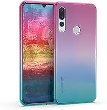 kwmobile Case for Umidigi A5 Pro - Clear TPU Soft Phone Cover - Bicolor Design, Dark Pink/Blue/Transparent Pink 50692.01