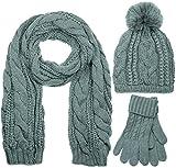 styleBREAKER conjunto de chal, gorro y guantes, chal de punto con motivo trenzado con gorro con pompón y guantes, señora 01018208, color:Gris/bufanda