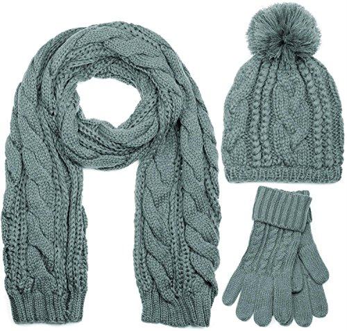 styleBREAKER Schal, Mütze und Handschuh Set, Zopfmuster Strickschal mit Bommelmütze und Handschuhe, Damen 01018208, Farbe::Grau / Schal (One Size)
