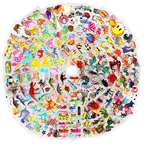 HOWAF 1000+ 3D Aufkleber für Kinder Kleinkinder, Geschwollen Stickers für Mädchen Jungen Scrapbooking Machen Belohnungen Geschenke, Meerestier Dinosaurier Auto Fahrzeug Obst Emoji Sport Aufkleber
