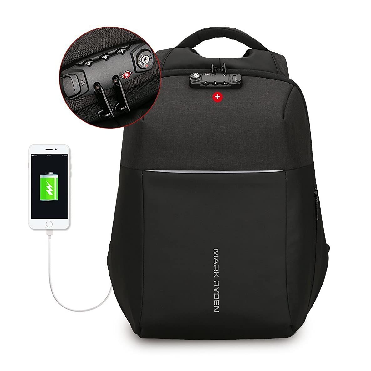 Anti-Theft Laptop Backpack with USB Charging Port Fits 15.6Inch Laptop+TSA Lock (black(new))