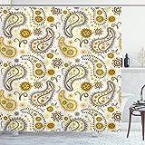 ABAKUHAUS Paisley Duschvorhang, Ethnische Stammesblumen, mit 12 Ringe Set Wasserdicht Stielvoll Modern Farbfest & Schimmel Resistent, 175x200 cm, Orange Gelb Weiß