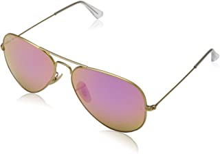 RB3025 Aviator Large Metal Flash Mirrored Sunglasses, Matte Gold/Polarized Violet Flash, 58 mm