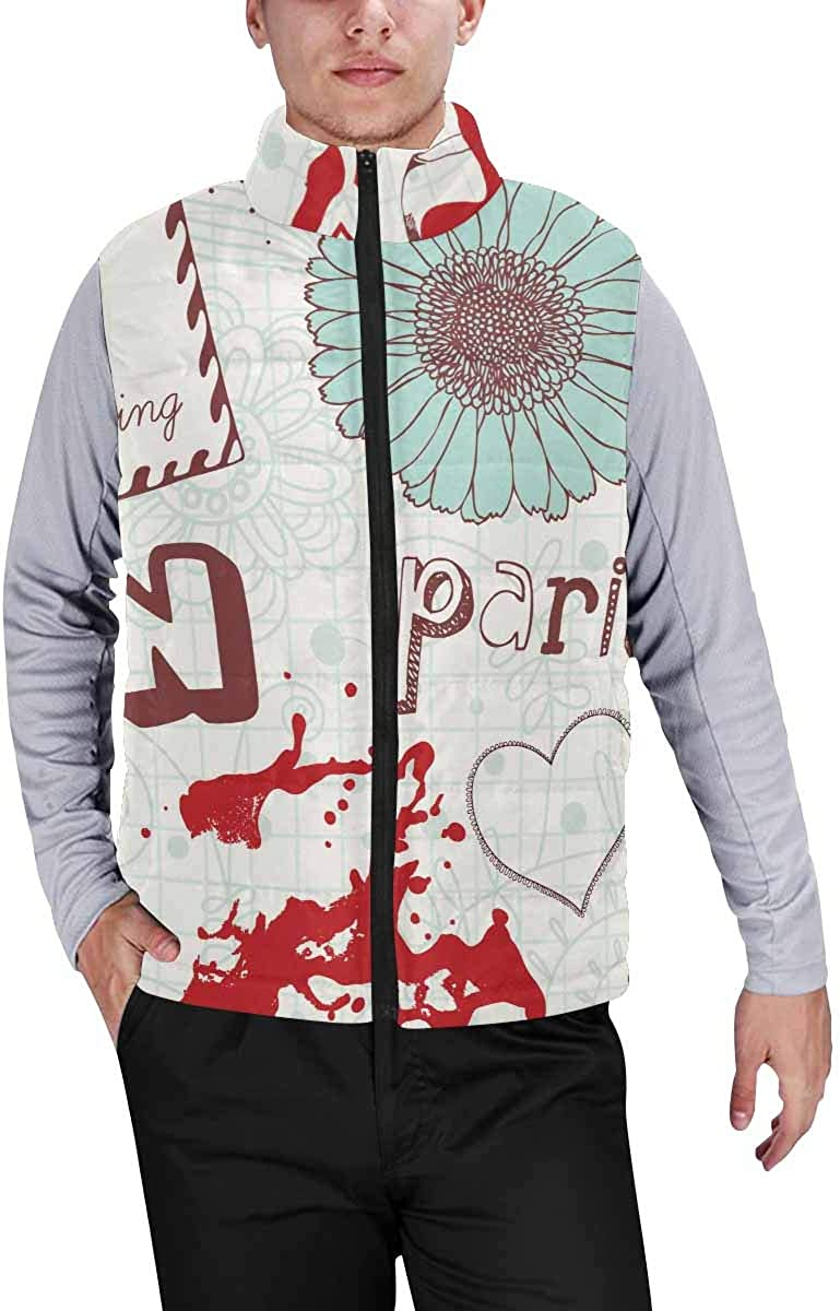 InterestPrint Men's Full-Zip Soft Warm Winter Outwear Vest Llama and Cactus
