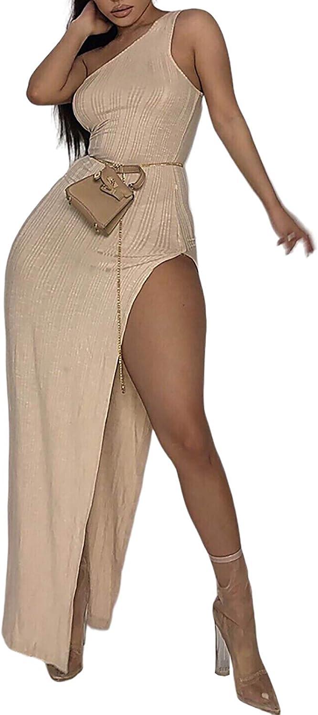 Women's Bodycon Maxi Dresses - Sexy One Shoulder Sleeveless High Split Party Dress