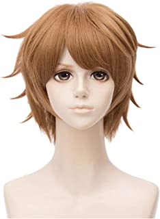 Flovex Short Straight Anime Cosplay Wigs Natural Sexy Costume Party Daily Hair (Light Brown)
