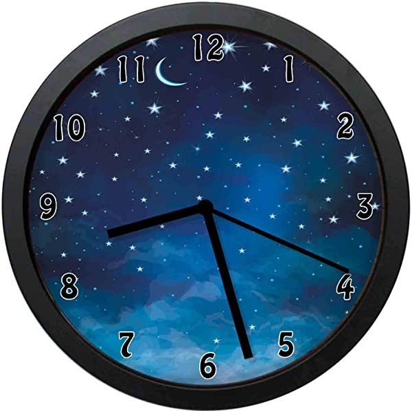 YiiHaanBuy Sky Decorative Wall Clock Abstract Night Time Stars And Crescent Moon Constellation Astrology Office Bedroom Kitchen Bathroom Silent Battery Quartz Wall Clock 12 Inch